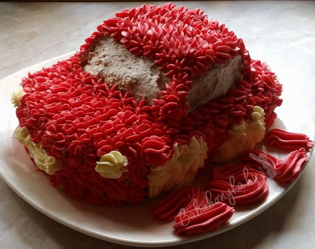 Autó torta mentes piros szülinap